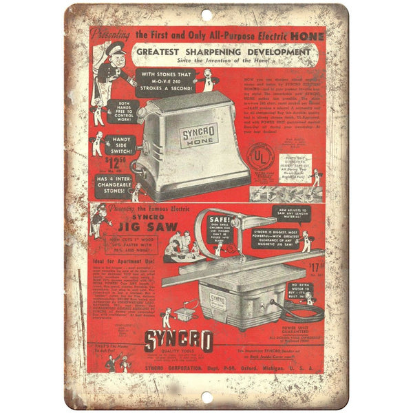 "Syncro Hone Tool Jig Saw Workshop Ad - 10"" x 7"" Retro Look Metal Sign"