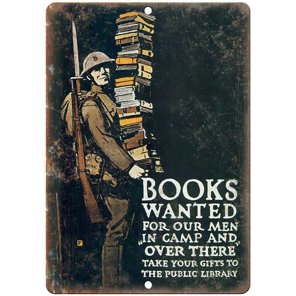 "American Wartime Books Wanted Poster 10"" x 7"" Reproduction Metal Sign M90"