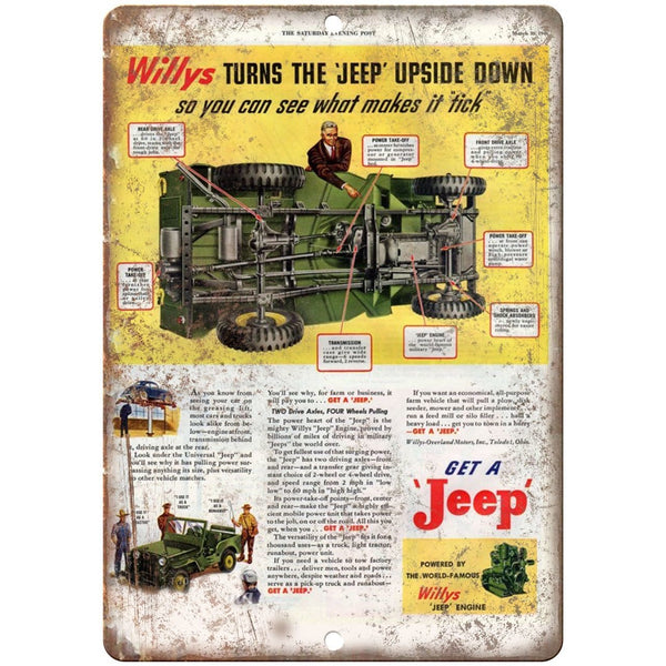 "Jeep Willys Overland Retro Ad - 10"" x 7"" Reproduction Metal Sign"