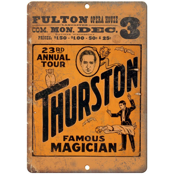 "Thurston Magician Fulton Opera House 10"" X 7"" Reproduction Metal Sign ZH193"