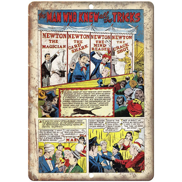 "Man Who Knew All the Tricks Comic Strip 10"" X 7"" Reproduction Metal Sign J310"