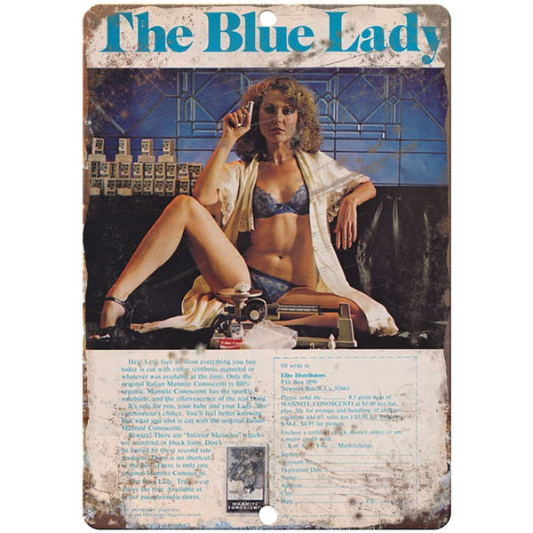 "1970s Cocaine the blue lady vintage advertising 10"" x 7"" reproduction metal sign"
