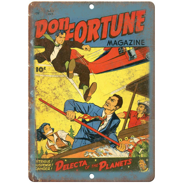 "Don Fortune Comic No 3 Comic Cover Book 10"" x 7"" Reproduction Metal Sign J662"
