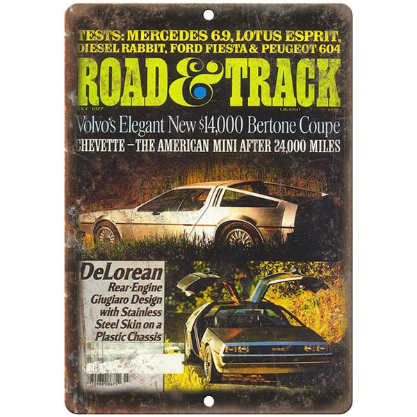 "AMC DeLorean Road & Track Magazine Cover - 10"" x 7"" Retro Look Metal Sign"