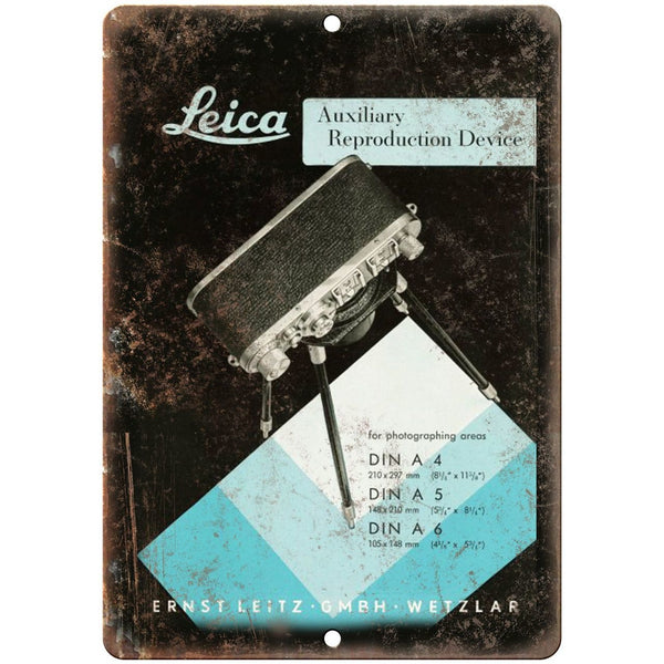 "Leica Reproduction Device 10"" x 7"" Retro Look Metal Sign"