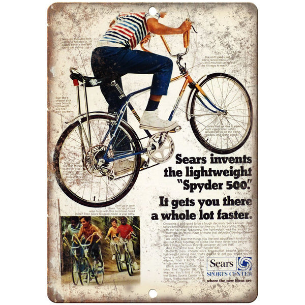 "Spyder 500 BMX Bicycle Sears Sports Ad 10"" x 7"" Reproduction Metal Sign B461"