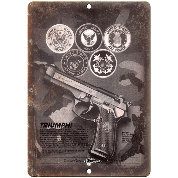 "Gunmark Beretta Pistols 10"" x 7"" Reproduction Metal Sign"