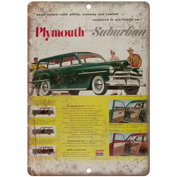 "Plymouth Suburban Vintage Car Ad 10"" x 7"" Reproduction Metal Sign"