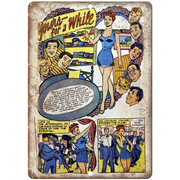 "Ace Comics Yours For A While Comic Strip 10"" X 7"" Reproduction Metal Sign J386"