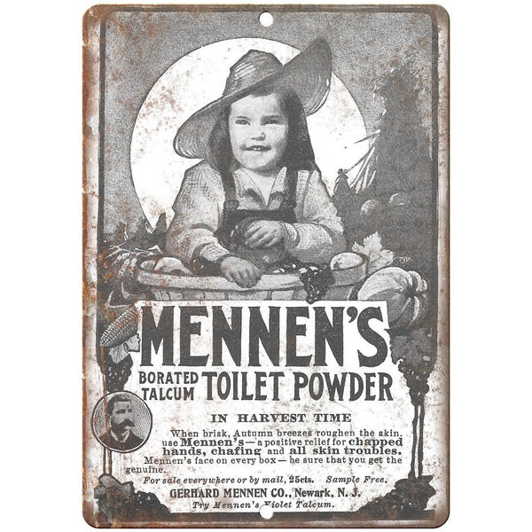 "Mennen's Toilet Powder Vintage Ad 10"" X 7"" Reproduction Metal Sign ZF103"
