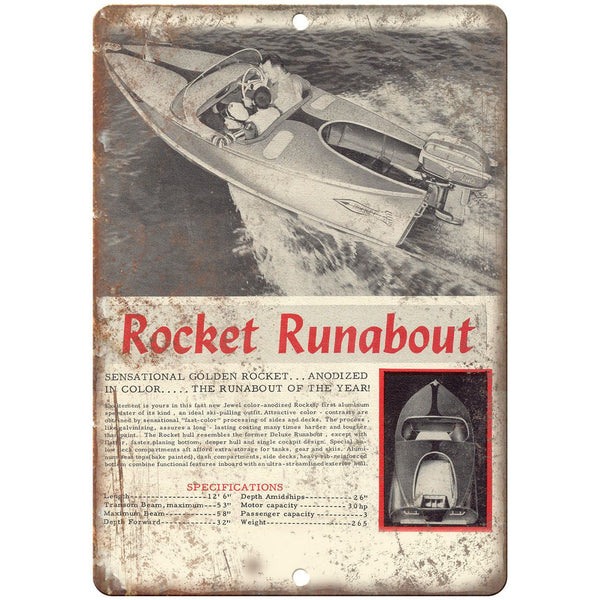 "Rocket Runabout Boating Vintage Ad 10"" x 7"" Reproduction Metal Sign L02"
