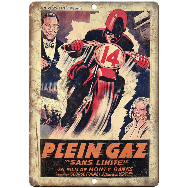 "Plein Gaz Sans Limite Motorcycle Ad 10"" x 7"" Reproduction Metal Sign F48"