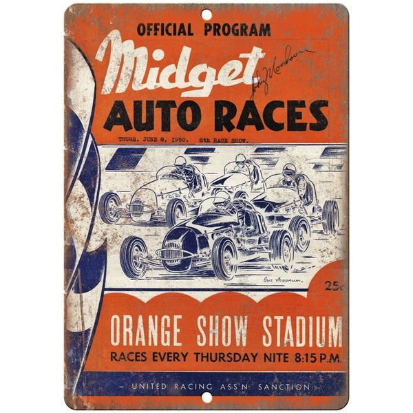 "1950 Midget Auto Races Orange Show Stadium 10"" X 7"" Reproduction Metal Sign A549"