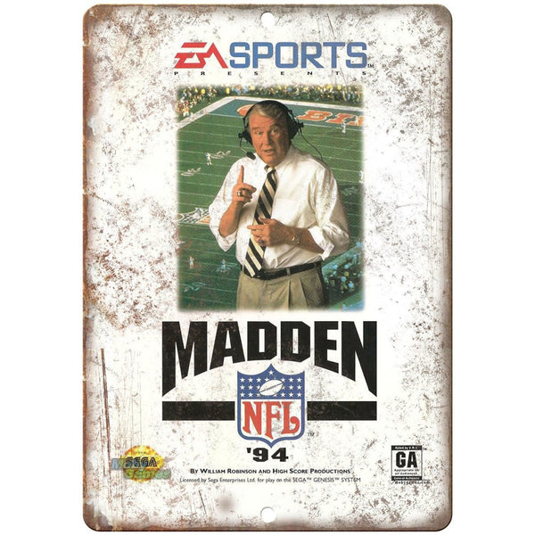 "Madden 94' EA Sports Sega Genesis Gaming Cove Art 10"" x 7"" Retro Look Metal Sign"