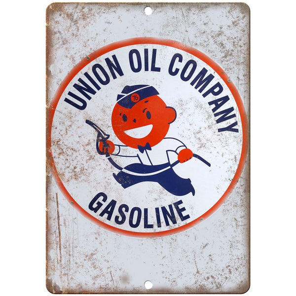 "Porcelain Look Union Oil Company Gasoline 10"" x 7"" Retro Look Metal Sign"