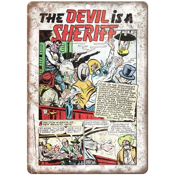 "Ace Comic Strip The Devil is a Sheriff 10"" X 7"" Reproduction Metal Sign J367"