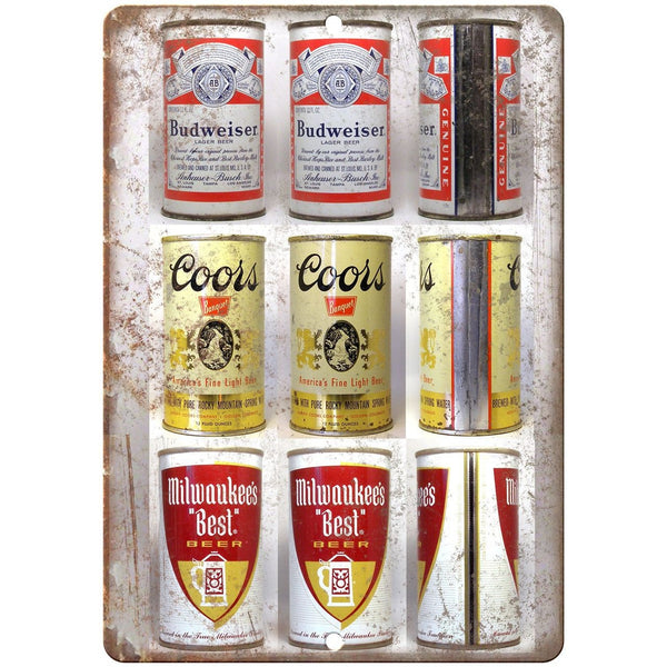 "Vintage Beer Cans Budweiser, Coors, Milwaukees 10"" x 7"" reproduction metal sign"