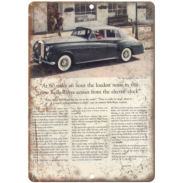 "1959 Rolls-Royce Silver Cloud Vintaege Ad 10"" x 7"" Reproduction Metal Sign A273"