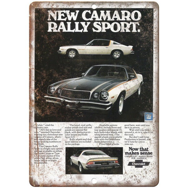 "Chevy Camaro Rally Sport Vintage Print Ad 10"" x 7"" Reproduction Metal Sign"