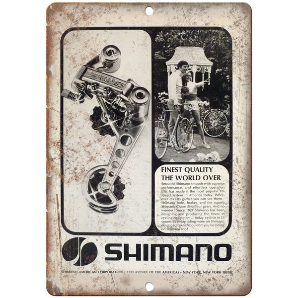"Shimano American Corp. 10 Speed Bike Gears 10"" x 7"" Reproduction Metal Sign B18"