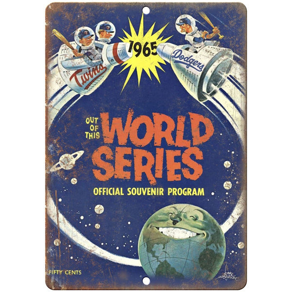 "1965 World Series Twins vs. Dodgers Scorecard 10""x7"" Reproduction Metal Sign X23"