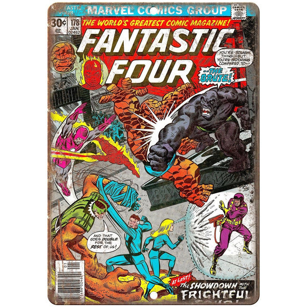 "Fantastic Four #178 Comic Book Marvel Comics 10"" x 7"" Retro Look Metal Sign"