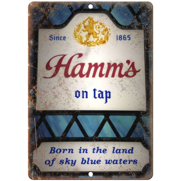 "10"" x 7"" Metal Sign - Hamm's Beer On Tap Neon Sign - Vintage Look Reproduction"