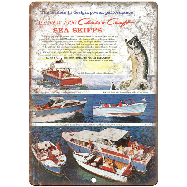 "1960 Chris Craft Boat Vintage Ad 10"" x 7"" Reproduction Metal Sign L48"