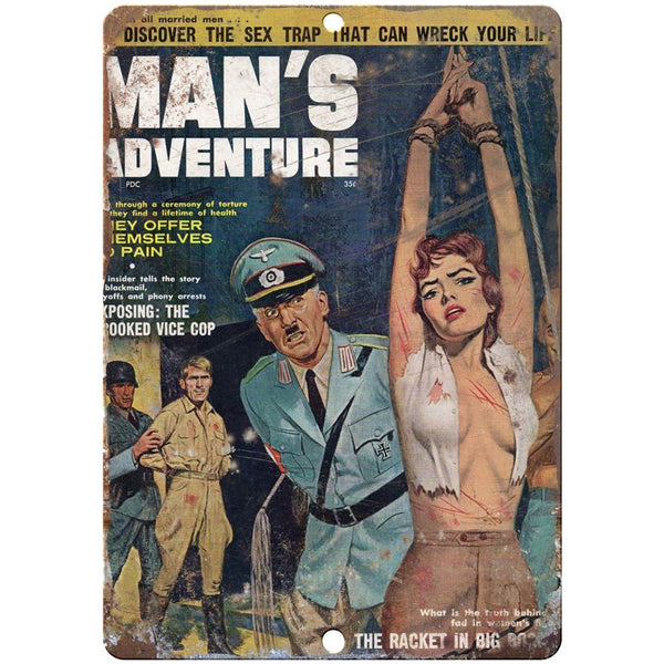 "1961 Pulp Mag Man's Adventure 10"" x 7"" reproduction metal sign"