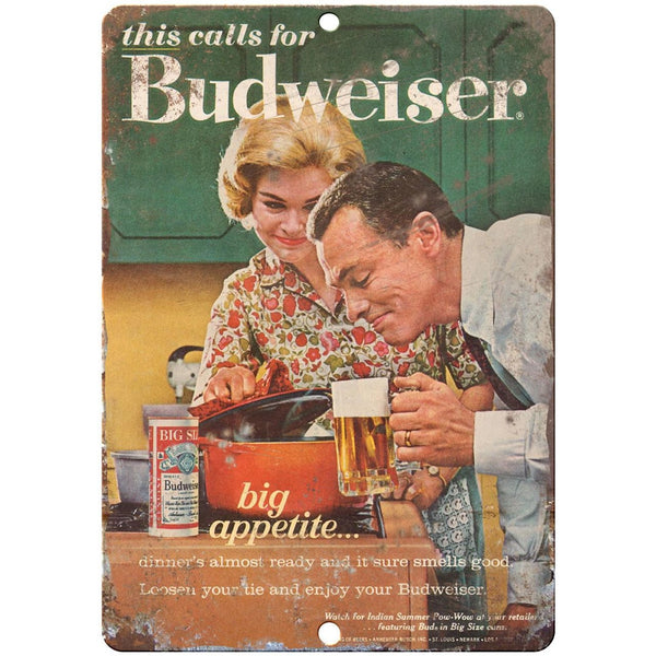 "1963 Budweiser Big Appetite vintage ad 10"" x 7"" reproduction metal sign"