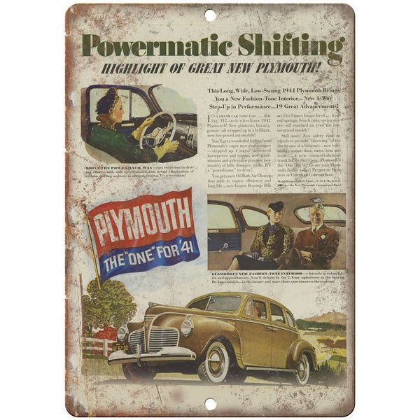 "1941 Plymouth Powermatic Shifting 10"" x 7"" Reproduction Metal Sign"