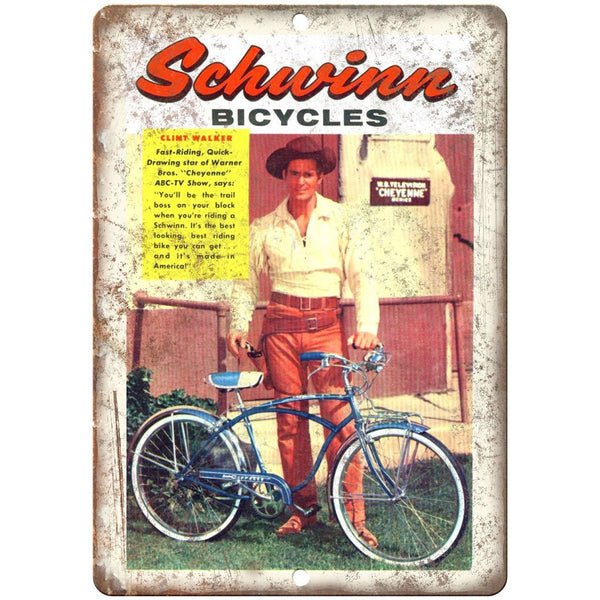 "1957 - Schwinn Bicycles Clint Walker Actor Ad - 10"" x 7"" Retro Look Metal Sign"
