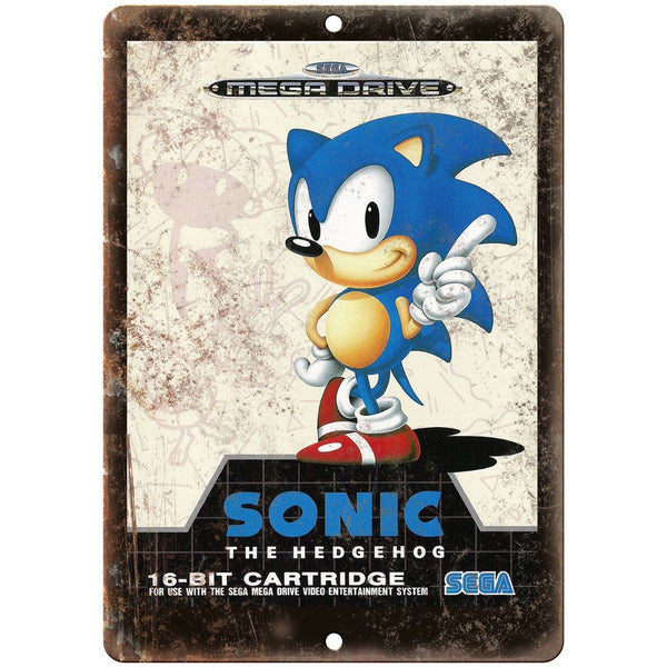 "Sega 16-Bit Sonic The Hedgehog Mega Drive 10"" x 7"" Reproduction Metal Sign A14"