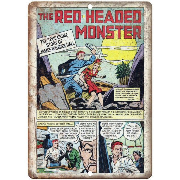 "Read Headed Monster Crime Comic Strip 10"" X 7"" Reproduction Metal Sign J344"