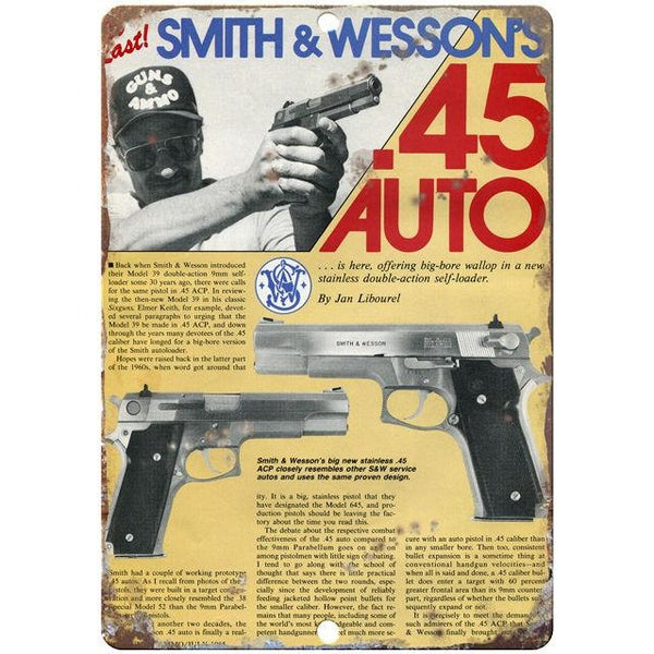 Smith & Wesson vintage advertising reproduction metal sign