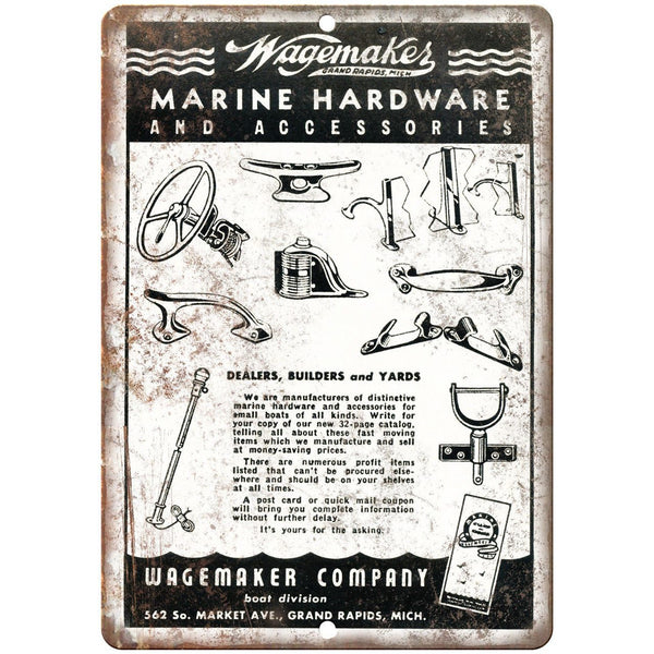 "Wagemakes Marine Hardware Boat Vintage Ad 10"" x 7"" Reproduction Metal Sign L88"