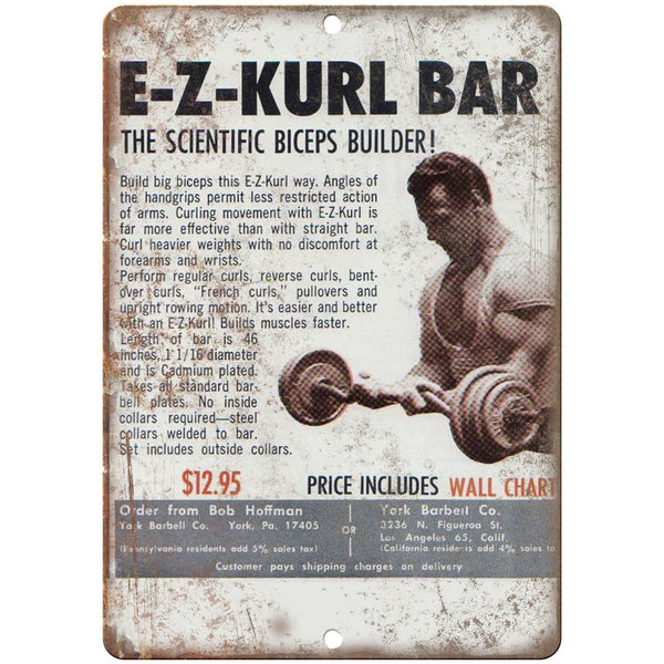 "EZ Kurl Bar Biceps Builder Bob Hoffman - 10"" x 7"" Retro Look Metal Sign"