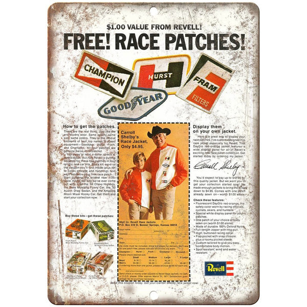 "Hurst, Champion, Fram, Good-Year Revell Patches 10"" x 7"" Retro Look Metal Sign"
