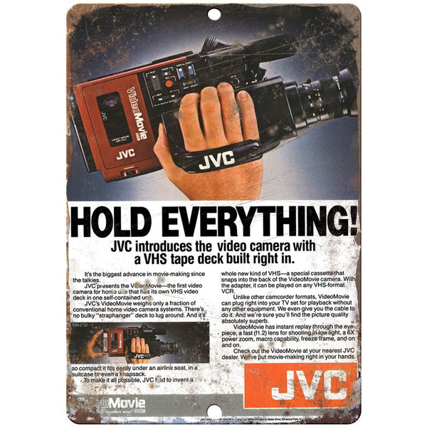 "10"" x 7"" Metal Sign - 1986 JVC Camcorder - Vintage Look Reproduction D03"