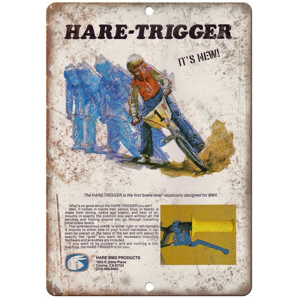 "10"" x 7"" Metal Sign - Hare Trigger BMX Freestyle Ad - Vintage Look Reproduction"