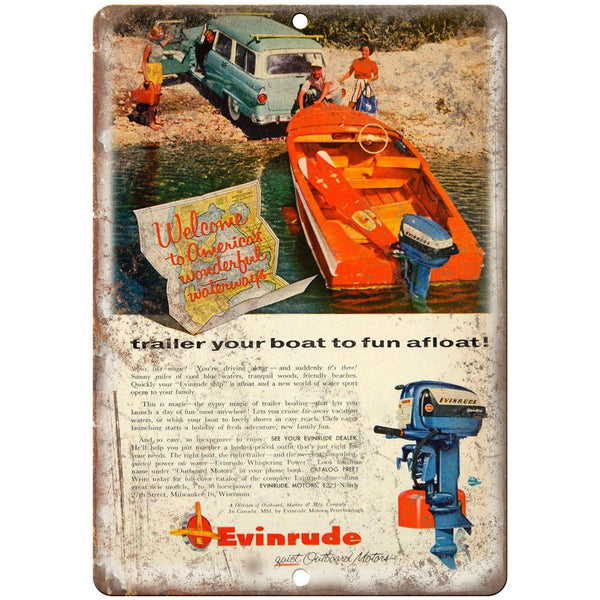 "Evinrude Boat Vintage Ad 10"" x 7"" Reproduction Metal Sign L58"