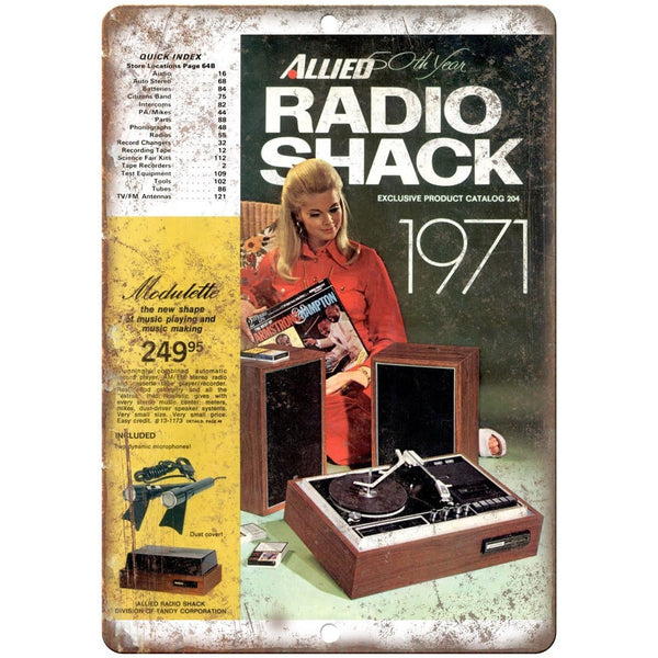 "Radio Shack Allied 1971 Catalog Audio Video 10"" x 7"" Reproduction Metal Sign"