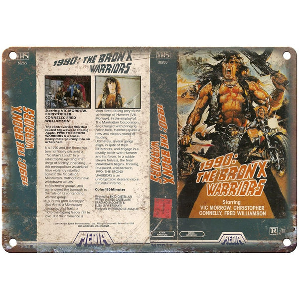 "1990 Bronx Warriors Media Home Video VHS Art 10""X7"" Reproduction Metal Sign V22"
