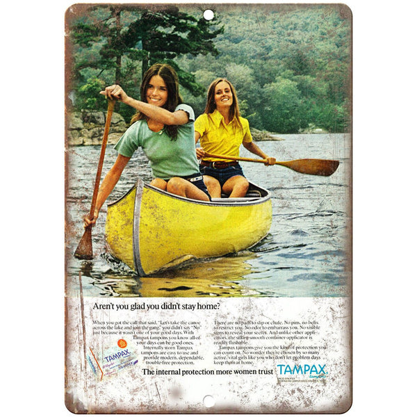 "Tampax Boating Vintage Ad 10"" x 7"" Reproduction Metal Sign L40"