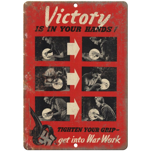 "Victory Is In Your Hands Anti Nazi Propoganda 10""x7"" Reproduction Metal Sign M29"
