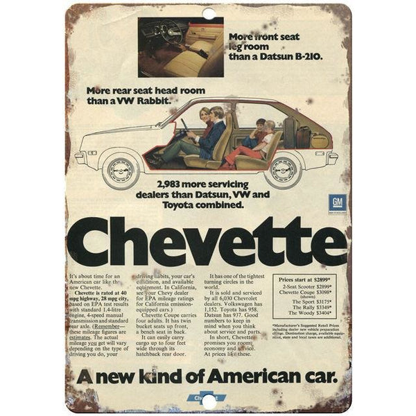 "Chevy Chevette 10"" x 7"" Reproduction Metal Sign"