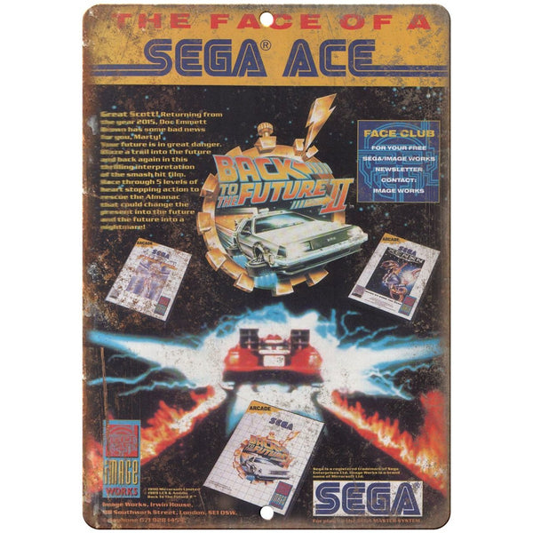 "Sega Ace Back to the Future II Vintage Print Ad 10"" x 7"" Retro Look Metal Sign"