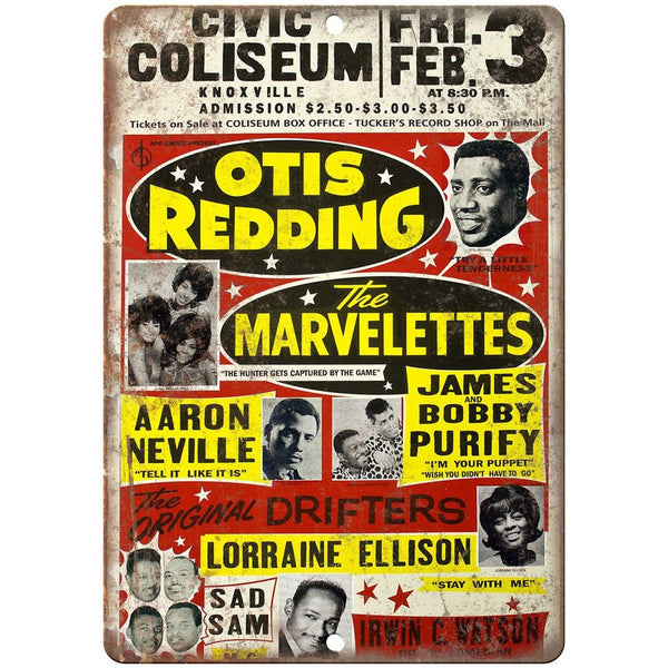 "Otis Redding Civic Coliseum vintage concert flyer 10"" x 7"" retro metal sign K12"