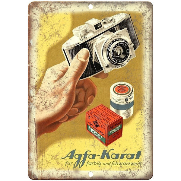 "1958 - Agfa-Karat Film Camera Ad - 10"" x 7"" Retro Look Metal Sign"