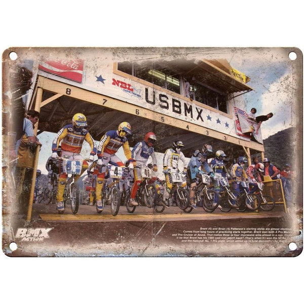 "BMX Action, BMX Race, Brent and Brian Patterson 10"" x 7"" Reproduction Metal Sign"